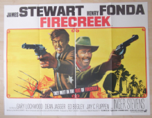 Firecreek, Original UK Quad Poster, James Stewart, Henry Fonda, BEST ART! '68